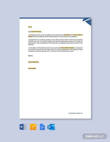 Free Formal Resignation Letter Without Notice Period