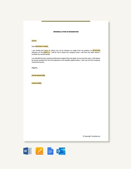 Free Informal Letter of Resignation