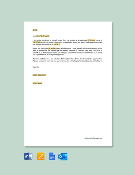 Free Registered Nurse Resignation Letter