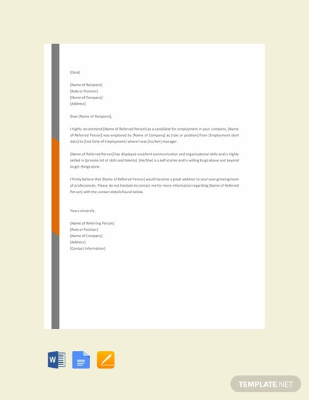 Free Letter of Reference Template