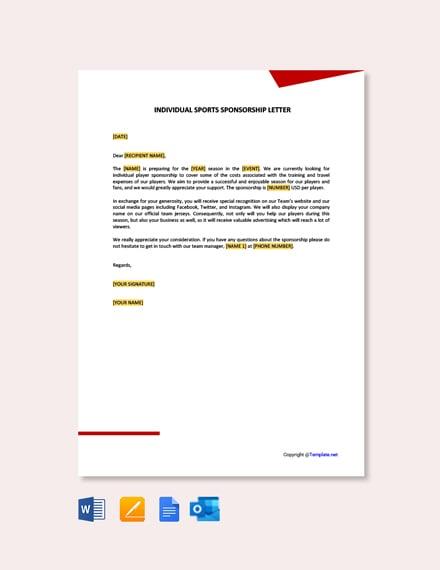Free Individual Sports Sponsorship Letter