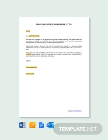 Free Successful Sports Sponsorship Letter