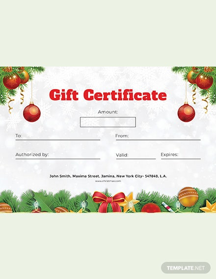 Free Formal Christmas Gift Certificate Template Word Psd