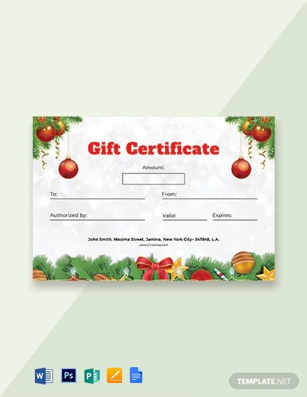 Formal Christmas Gift Certificate
