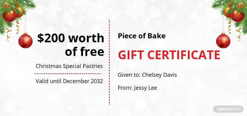 Formal Christmas Gift Certificate Template
