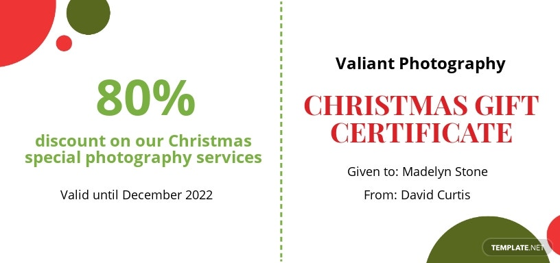 Sample Christmas Gift Certificate Template