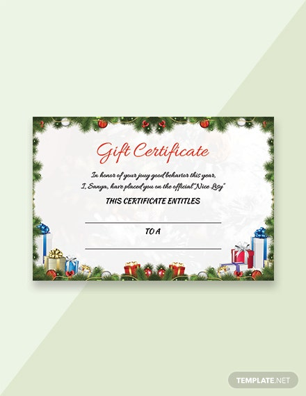 Free Sample Christmas Gift Certificate Template