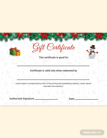 Christmas Cantata Gift Certificate Template
