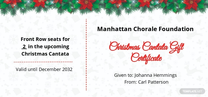 Free Christmas Cantata Gift Certificate Template.jpe
