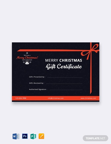 Free Merry Christmas Gift Certificate Template