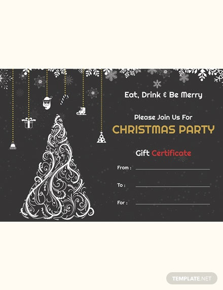 Christmas Party Gift Certificate Template