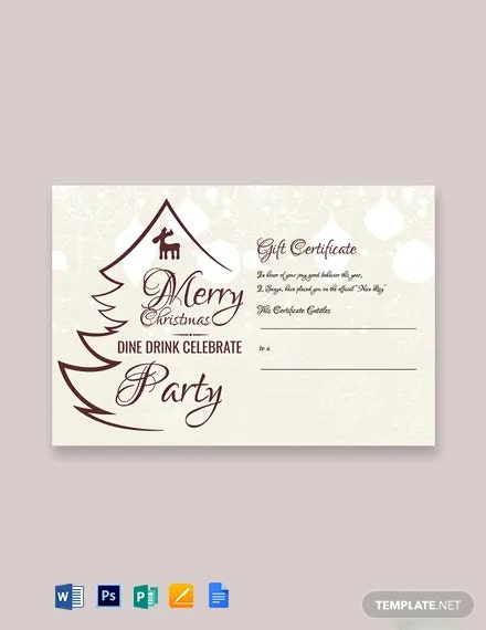 Free Restaurant Christmas Gift Certificate Template
