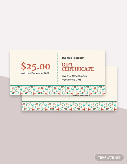 Editable Free Restaurant Christmas Gift Certificate Template