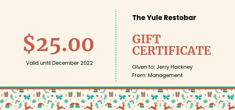 Restaurant Christmas Gift Certificate Template