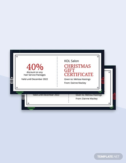 Free Modern Christmas Gift Certificate Template