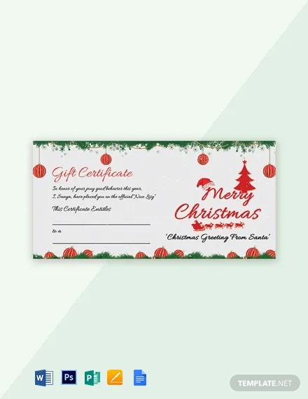 Free Snowflake Christmas Gift Certificate Template