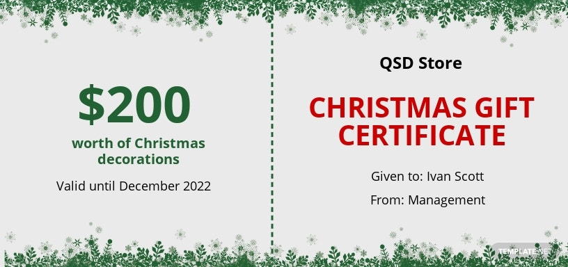 Snowflake Christmas Gift Certificate Template