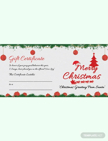 Free Snowflake Christmas Gift Certificate Template In Adobe