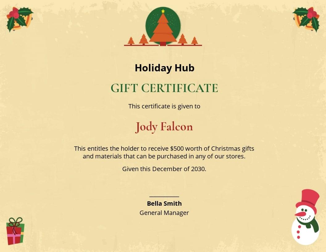 Free Christmas Certificate Template.jpe