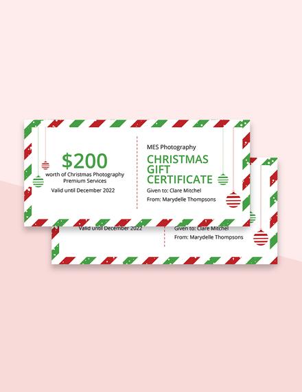 Editable Free Retro Christmas Gift Certificate Template
