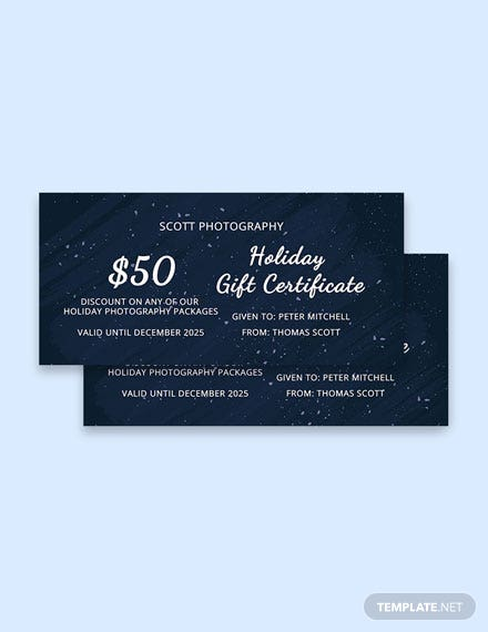Free Elegant Holiday Gift Certificate Template