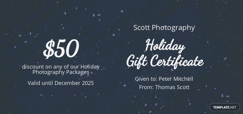 Elegant Holiday Gift Certificate Template