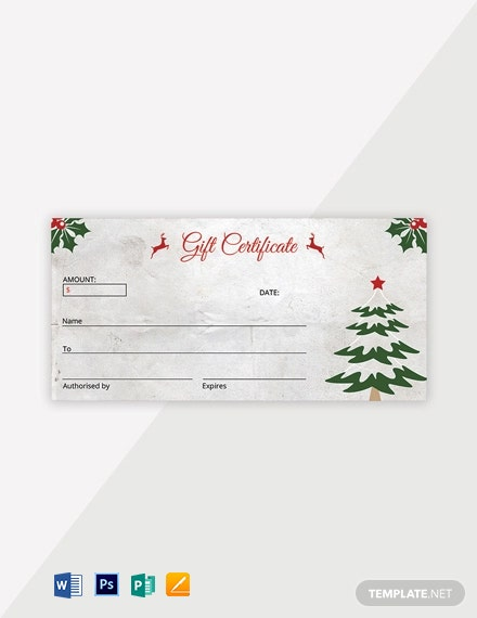 Free Elegant Christmas Gift Certificate Template