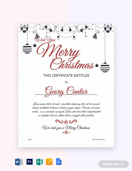 Free Sample Merry Christmas Gift Certificate Template
