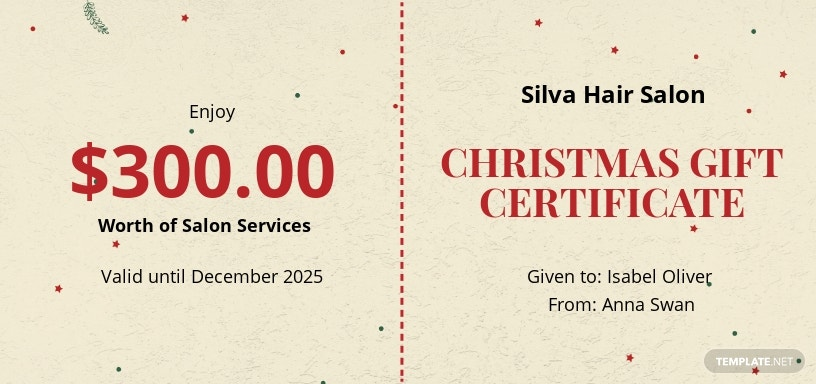 Minimal Christmas Gift Certificate Template