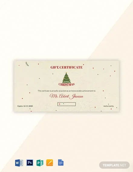 Free Minimal Christmas Gift Certificate Template