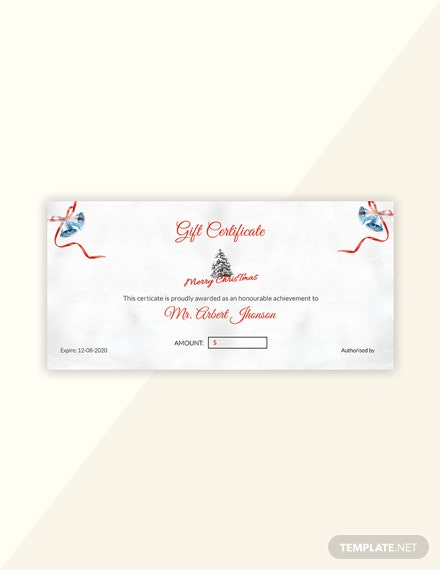 Free Simple Merry Christmas Gift Certificate Template