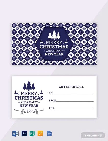 Free Modern Holiday Gift Certificate Template