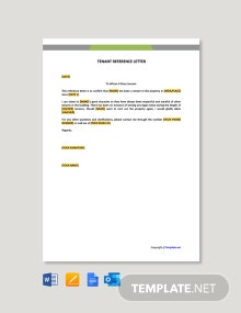 Free Tenant Reference Letter Template