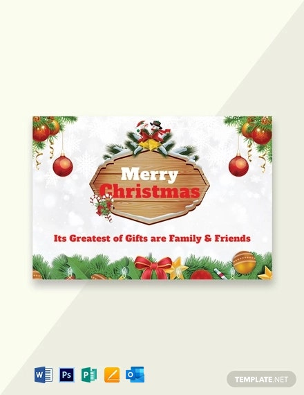 Free Merry Christmas Greeting Card Template