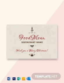 Free Christmas Restaurant Greeting Card Template