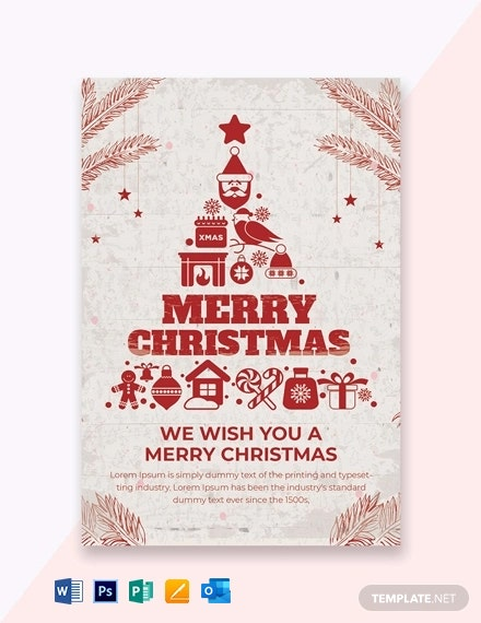 Free Christmas Greeting Invitation Card Template