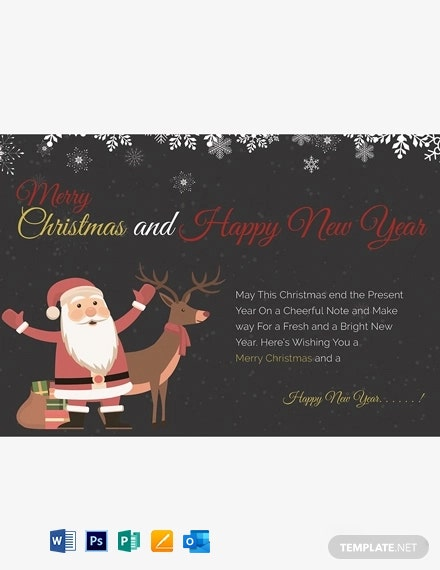 Chalkboard Christmas Greeting Card Template