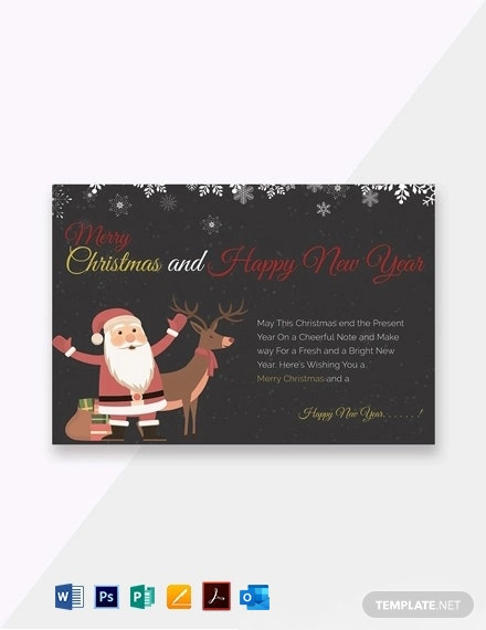 Chalkboard Christmas Greeting Card Template