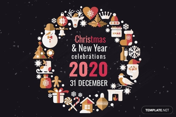 Free Creative Christmas and New Year Greeting Card Template 1.jpe