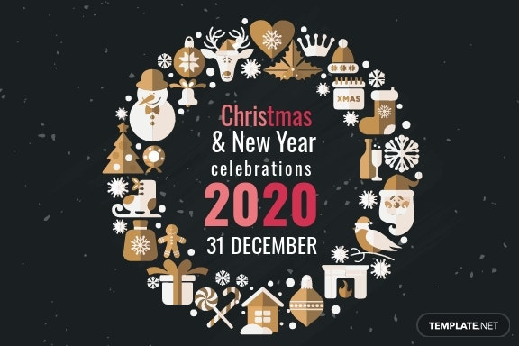 Free Creative Christmas and New Year Greeting Card Template 2.jpe