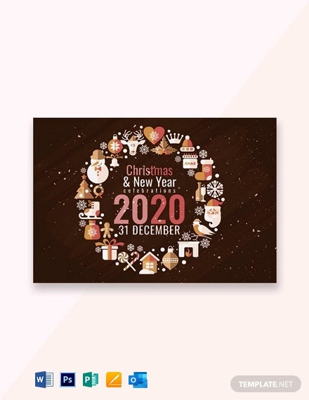 Creative Christmas and New Year Greeting Card Template