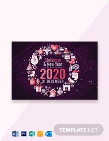 Free Creative Christmas and New Year Greeting Card Template