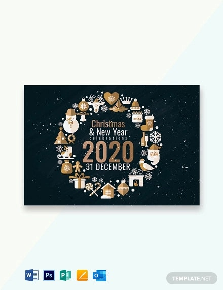 Creative Christmas and New Year Greeting Card Template Download