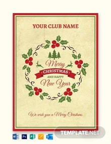 Free Simple Christmas Greeting Card Template