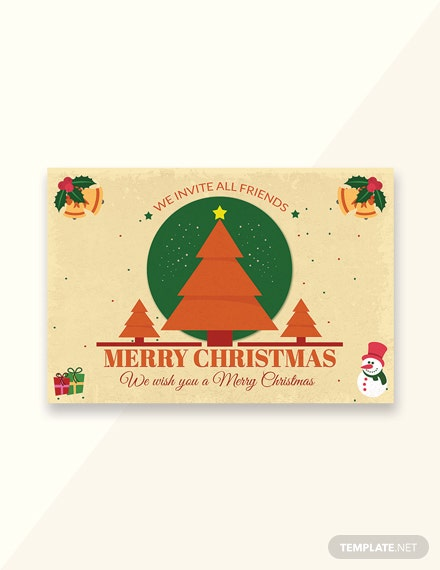 Free Merry Christmas Invitation Card Template