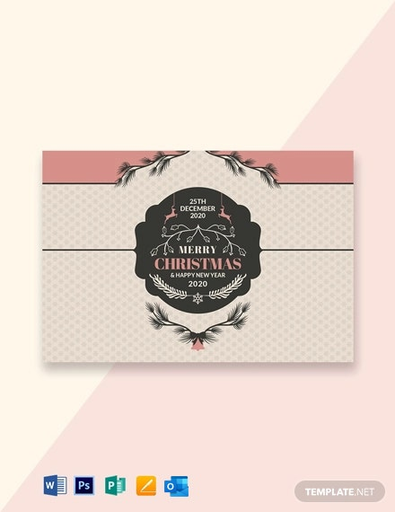 Free Retro Style Christmas Card Template