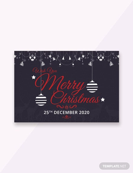 Free Chalkboard Merry Christmas Greeting Card Template