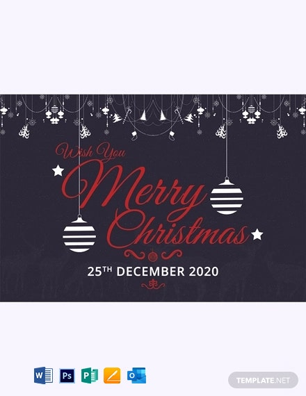 Chalkboard Merry Christmas Greeting Card Template