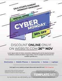 Free Cyber Monday Offer Flyer Template