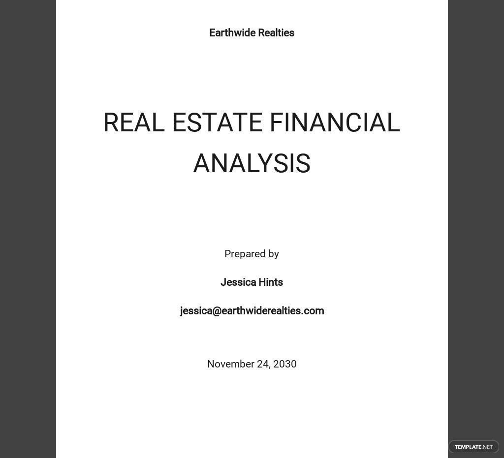 Real Estate Financial Analysis Template